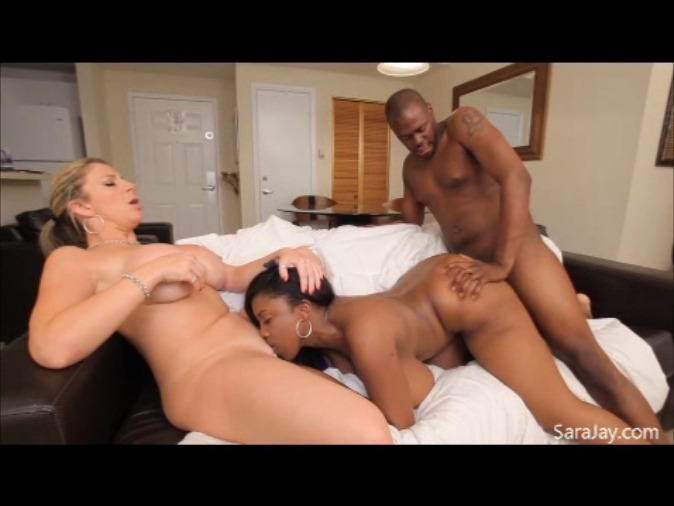 Sara Jay and Busty Friend Interracial Threesome FFM